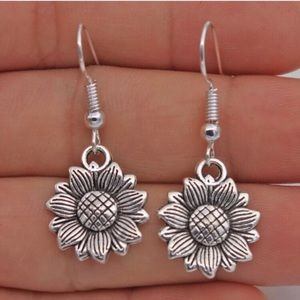 Flower 925 Sterling Silver Dangle Earrings
